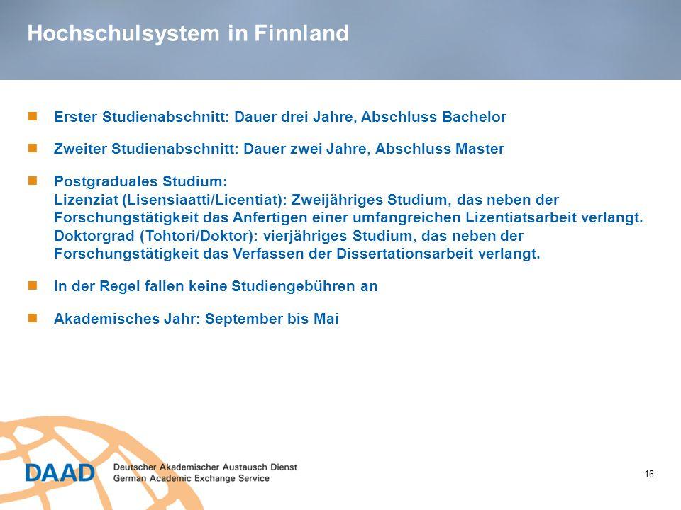 Hochschulsystem in Finnland