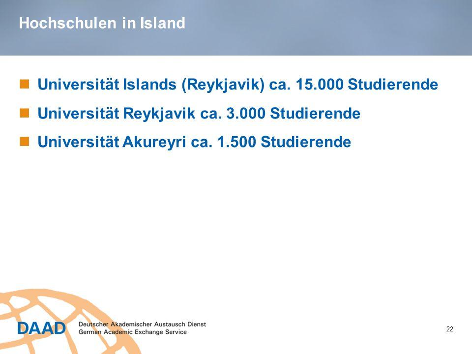 Hochschulen in Island Universität Islands (Reykjavik) ca. 15.000 Studierende. Universität Reykjavik ca. 3.000 Studierende.