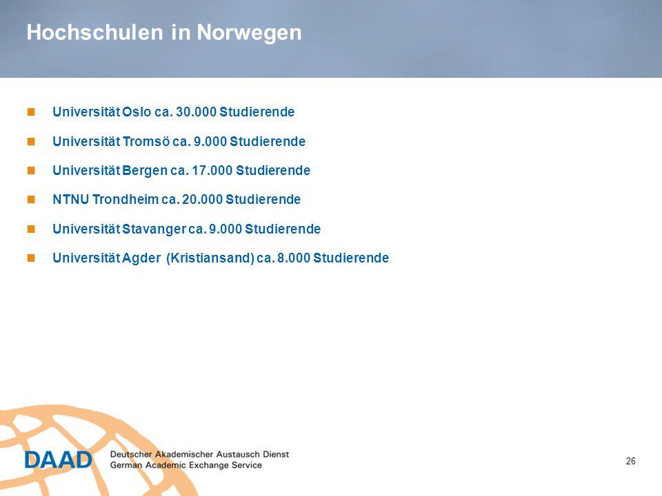 Hochschulen in Norwegen