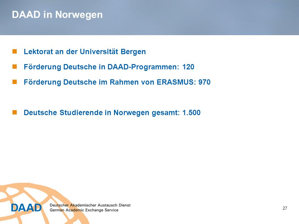 DAAD in Norwegen Lektorat an der Universität Bergen