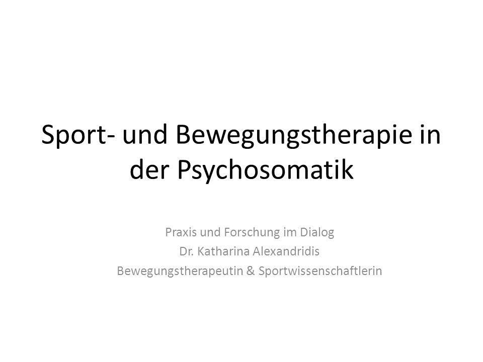 Sport- und Bewegungstherapie in der Psychosomatik