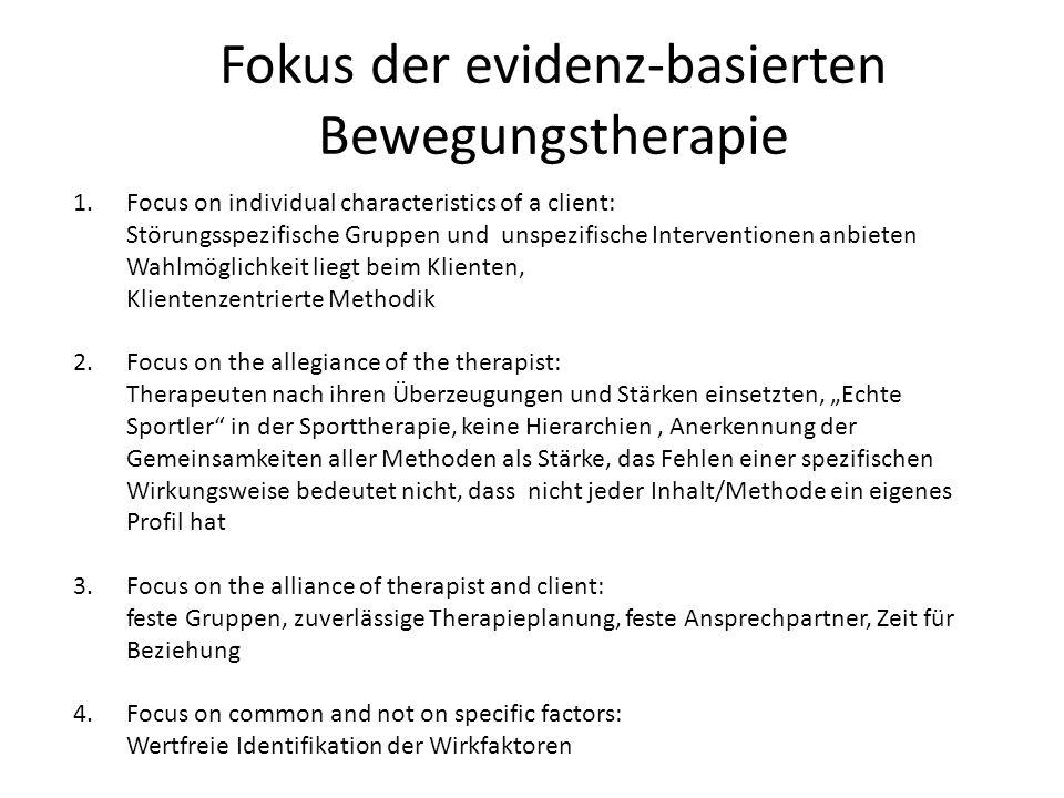 Fokus der evidenz-basierten Bewegungstherapie