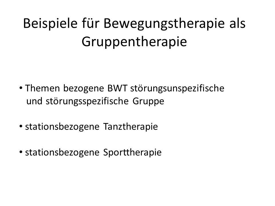 Beispiele für Bewegungstherapie als Gruppentherapie