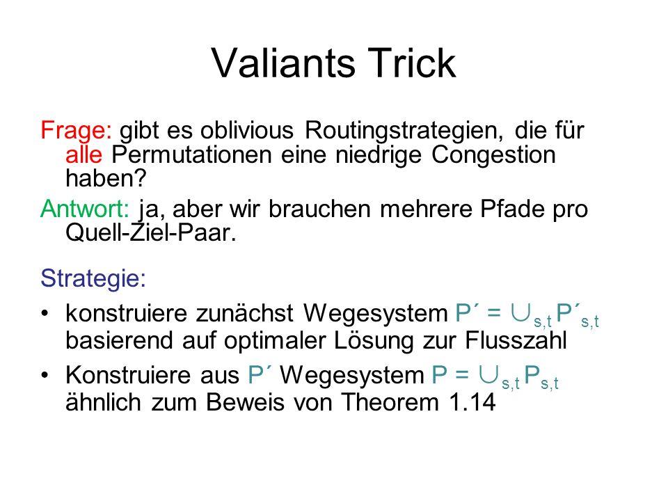 Valiants Trick Frage: gibt es oblivious Routingstrategien, die für alle Permutationen eine niedrige Congestion haben