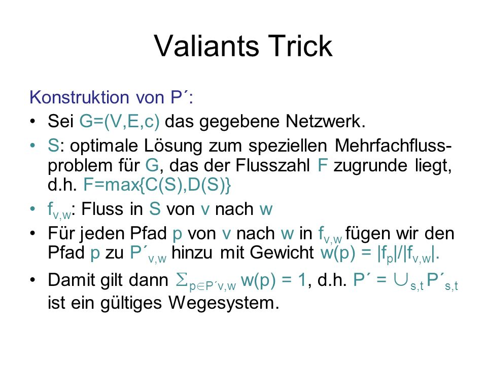 Valiants Trick Konstruktion von P´: