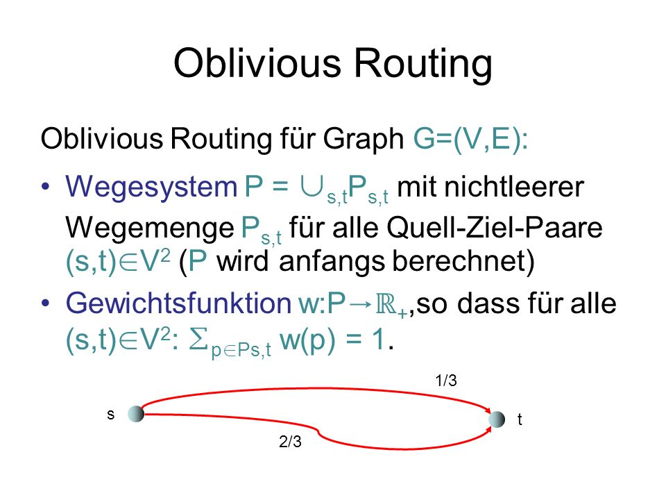 Oblivious Routing Oblivious Routing für Graph G=(V,E):