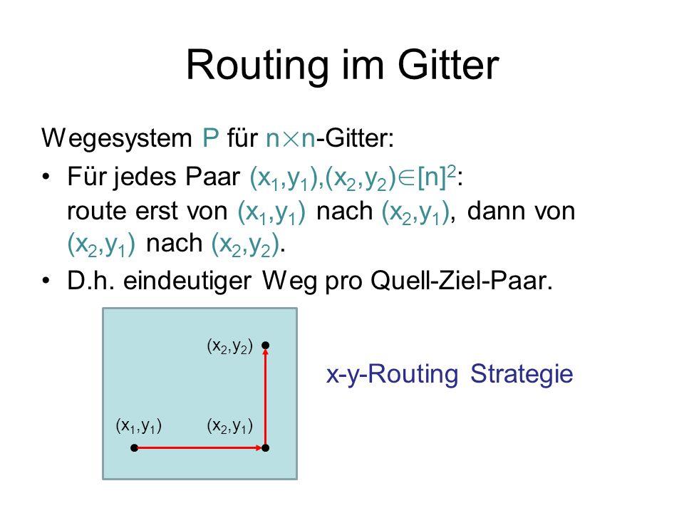 Routing im Gitter Wegesystem P für n×n-Gitter: