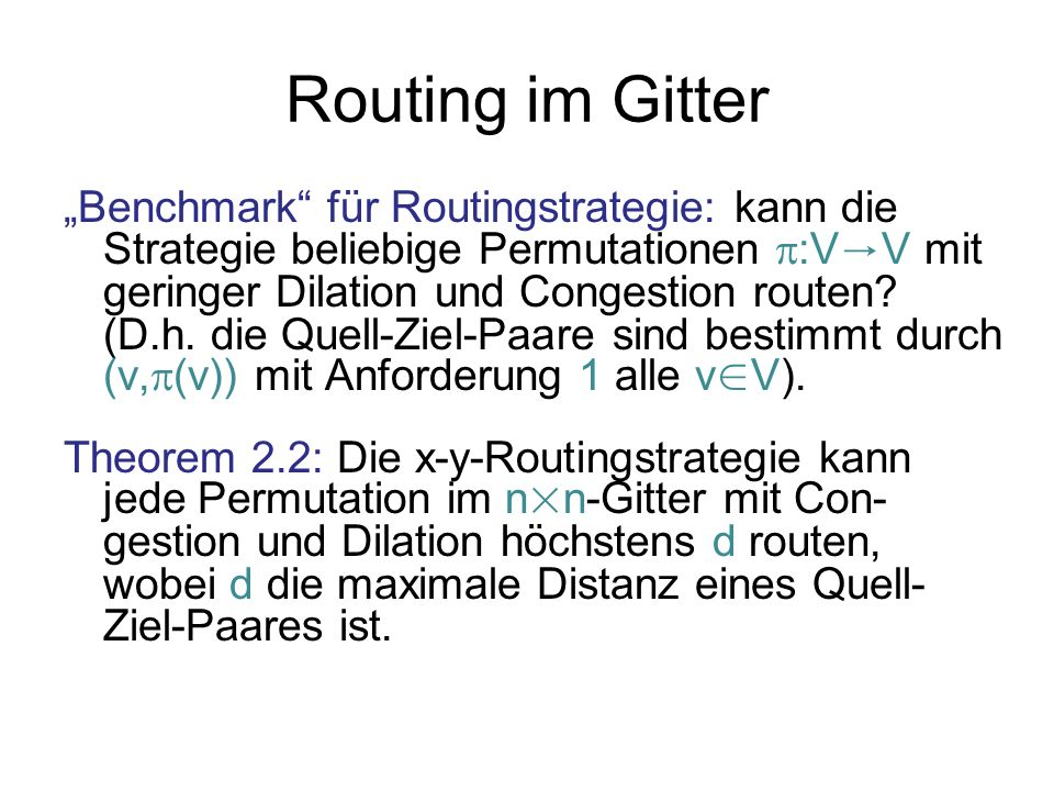 Routing im Gitter