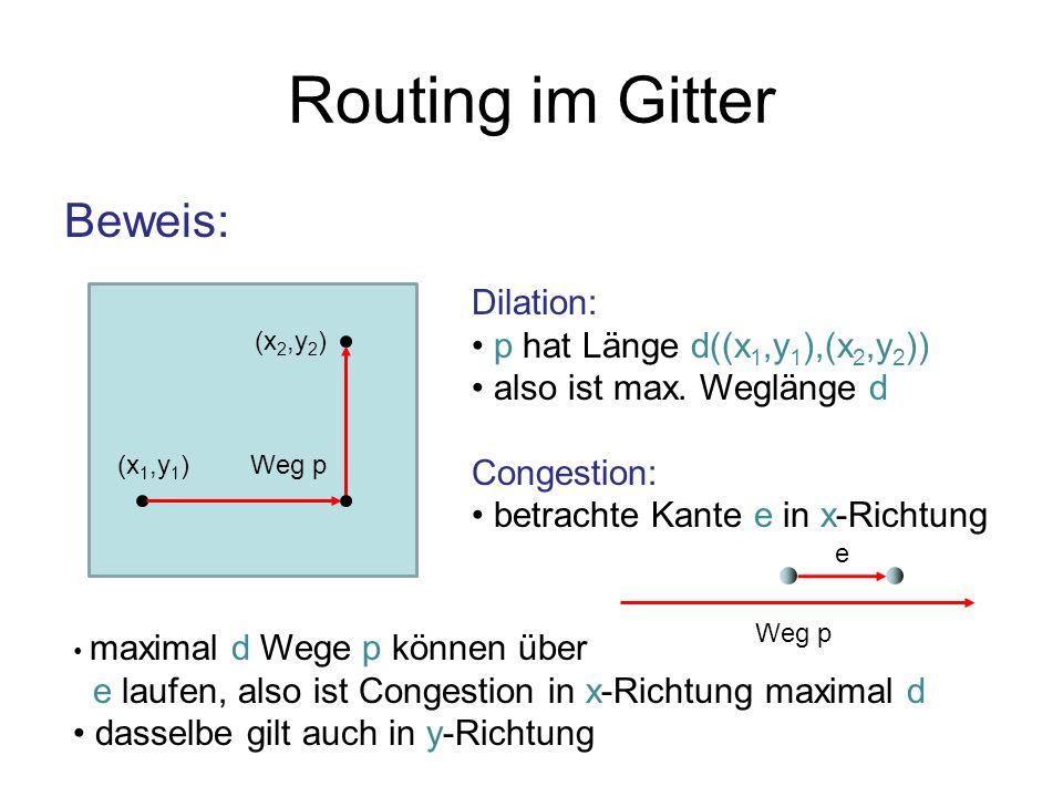 Routing im Gitter Beweis: Dilation: p hat Länge d((x1,y1),(x2,y2))