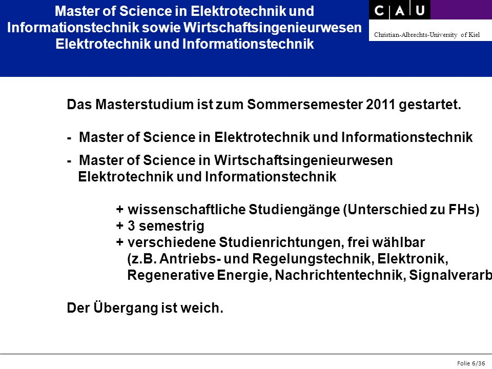 Master of Science in Elektrotechnik und Informationstechnik sowie Wirtschaftsingenieurwesen Elektrotechnik und Informationstechnik