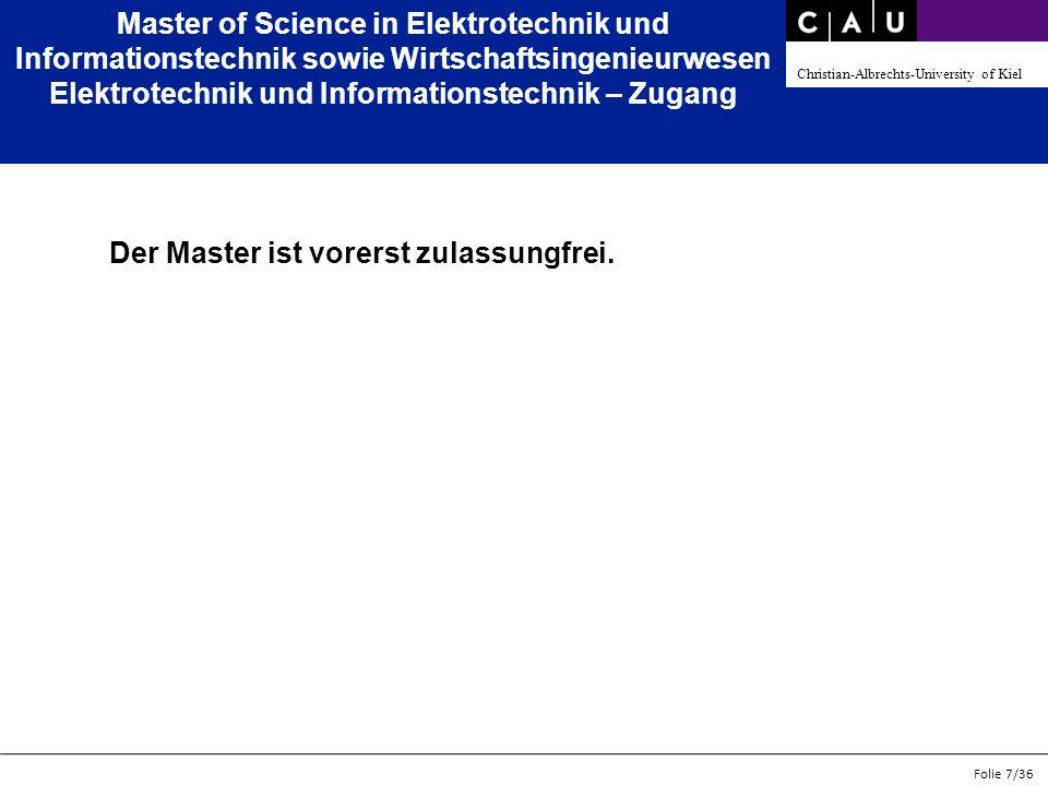 Master of Science in Elektrotechnik und Informationstechnik sowie Wirtschaftsingenieurwesen Elektrotechnik und Informationstechnik – Zugang