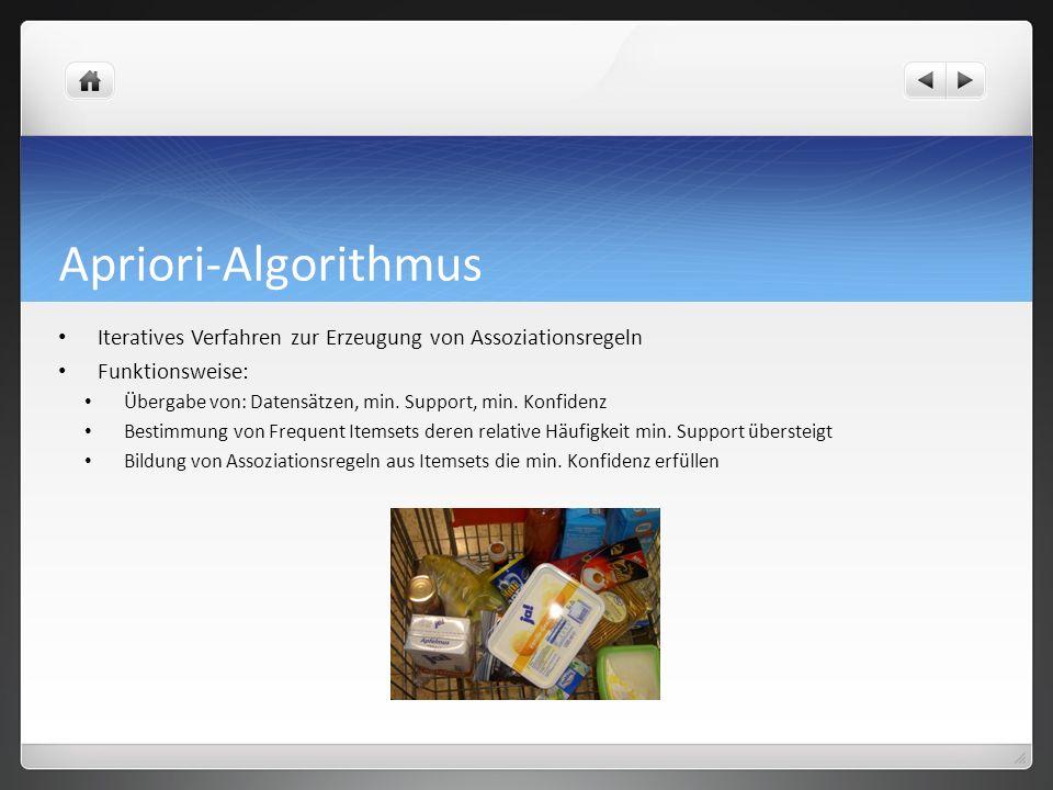 Apriori-Algorithmus Iteratives Verfahren zur Erzeugung von Assoziationsregeln. Funktionsweise: