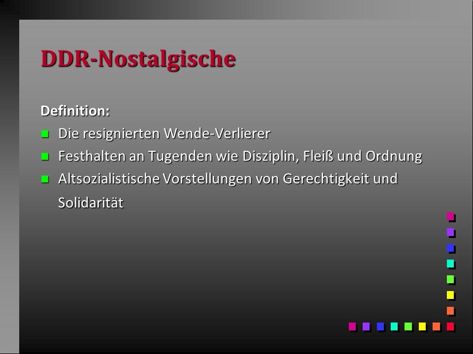 DDR-Nostalgische Definition: Die resignierten Wende-Verlierer