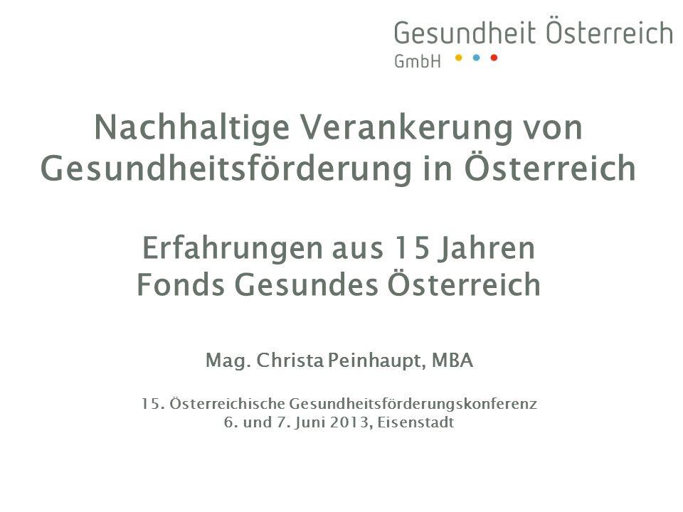 Nachhaltige Verankerung von Gesundheitsförderung in Österreich Erfahrungen aus 15 Jahren Fonds Gesundes Österreich Mag.