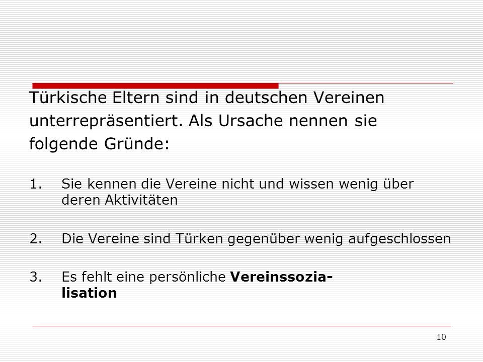 Türkische Eltern sind in deutschen Vereinen