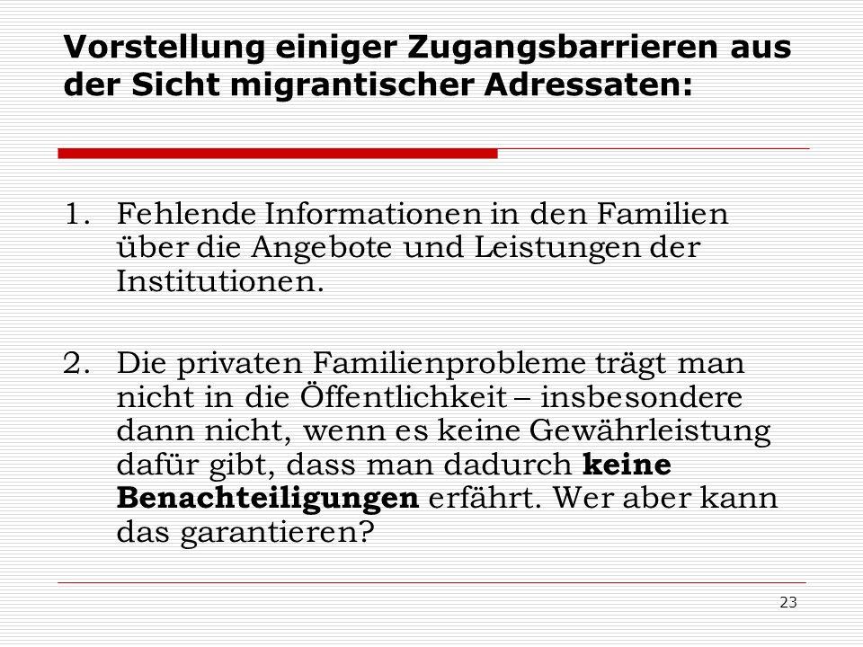 Vorstellung einiger Zugangsbarrieren aus der Sicht migrantischer Adressaten: