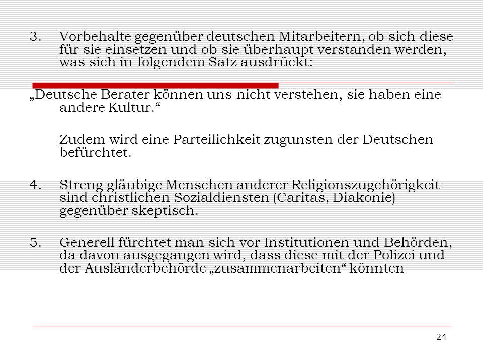 Vorbehalte gegenüber deutschen Mitarbeitern, ob sich diese für sie einsetzen und ob sie überhaupt verstanden werden, was sich in folgendem Satz ausdrückt:
