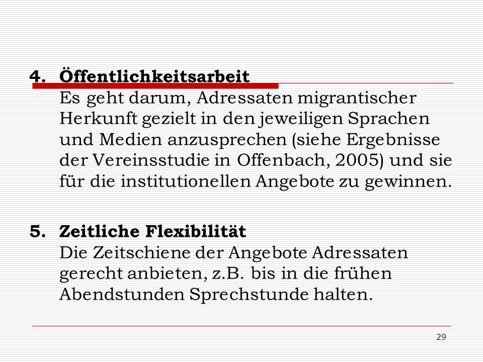 Öffentlichkeitsarbeit Es geht darum, Adressaten migrantischer Herkunft gezielt in den jeweiligen Sprachen und Medien anzusprechen (siehe Ergebnisse der Vereinsstudie in Offenbach, 2005) und sie für die institutionellen Angebote zu gewinnen.