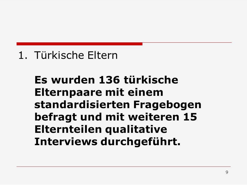 Türkische Eltern Es wurden 136 türkische Elternpaare mit einem standardisierten Fragebogen befragt und mit weiteren 15 Elternteilen qualitative Interviews durchgeführt.