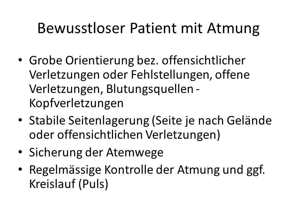 Bewusstloser Patient mit Atmung