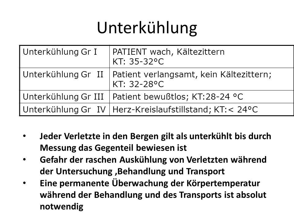 UnterkühlungUnterkühlung Gr I. PATIENT wach, Kältezittern KT: 35-32°C. Unterkühlung Gr II. Patient verlangsamt, kein Kältezittern; KT: 32-28°C.
