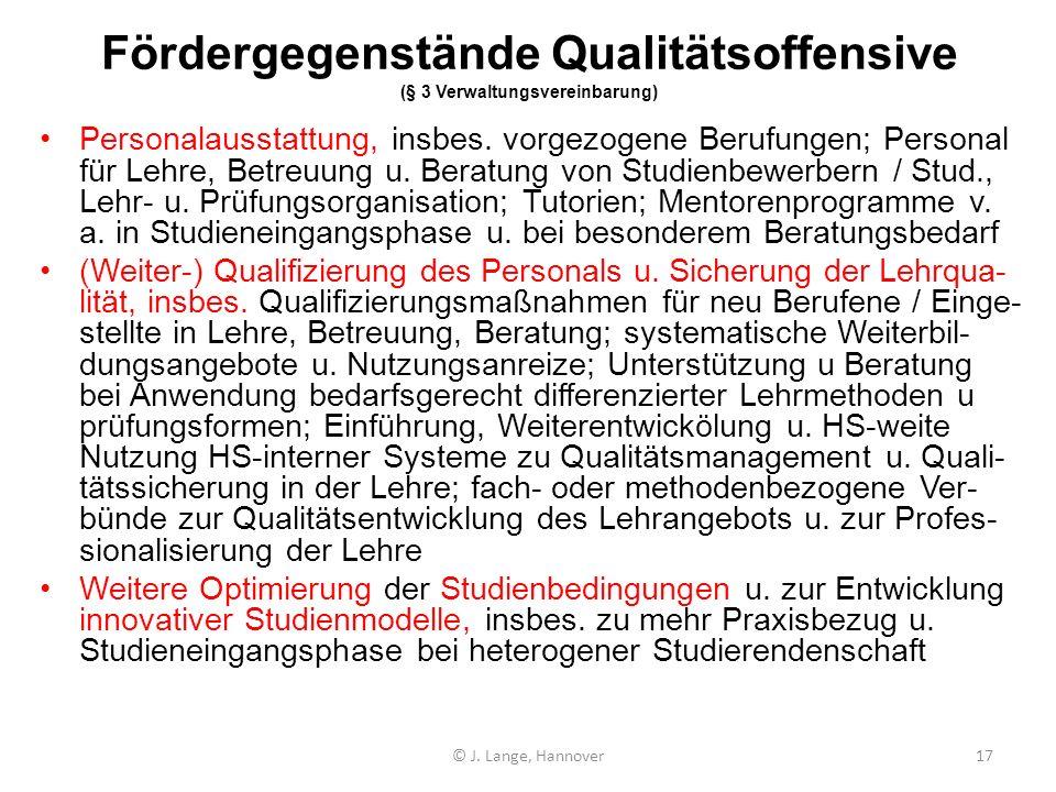 Fördergegenstände Qualitätsoffensive (§ 3 Verwaltungsvereinbarung)