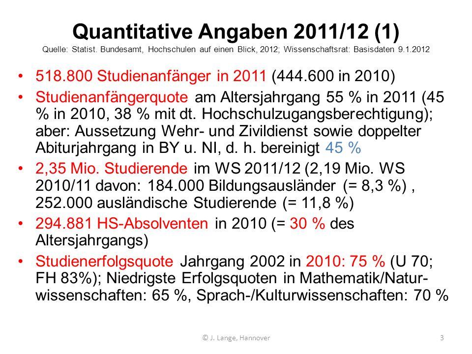 Quantitative Angaben 2011/12 (1) Quelle: Statist