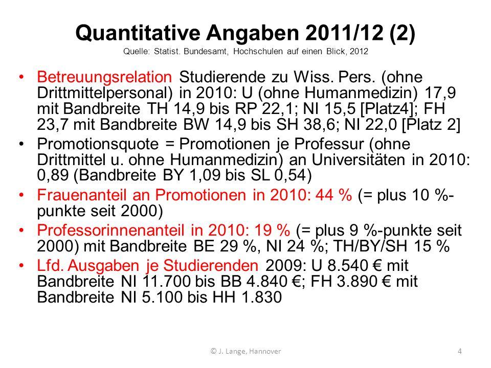 Quantitative Angaben 2011/12 (2) Quelle: Statist