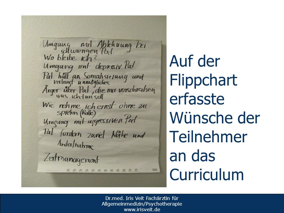 Auf der Flippchart erfasste Wünsche der Teilnehmer an das Curriculum