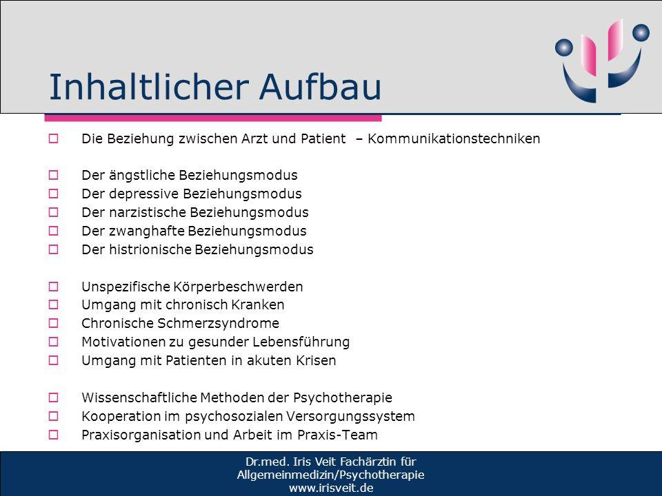 Inhaltlicher Aufbau Die Beziehung zwischen Arzt und Patient – Kommunikationstechniken. Der ängstliche Beziehungsmodus.