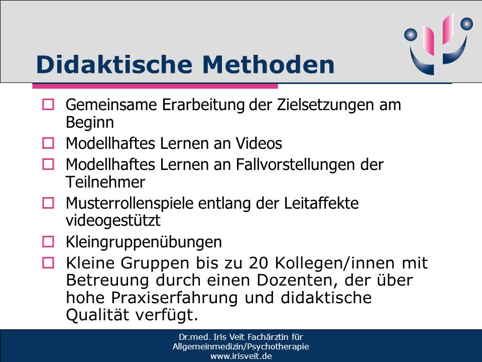 Didaktische Methoden Gemeinsame Erarbeitung der Zielsetzungen am Beginn. Modellhaftes Lernen an Videos.