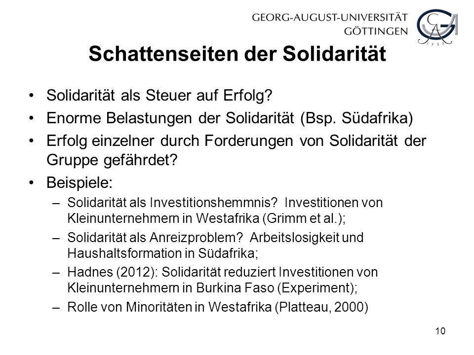 Schattenseiten der Solidarität