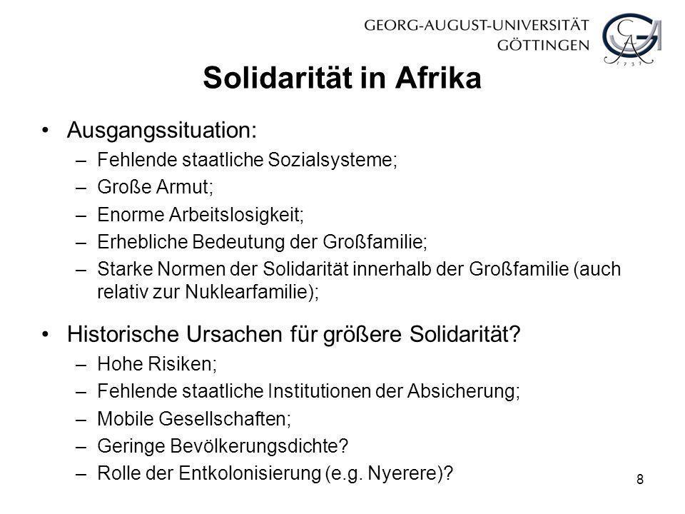 Solidarität in Afrika Ausgangssituation: