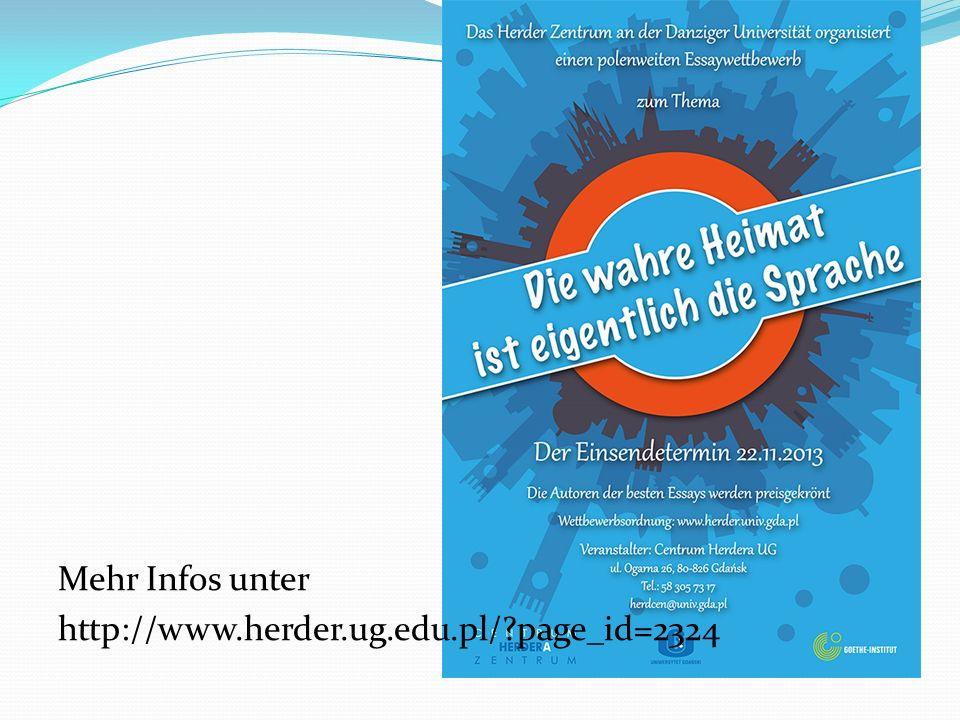 Mehr Infos unter http://www.herder.ug.edu.pl/ page_id=2324