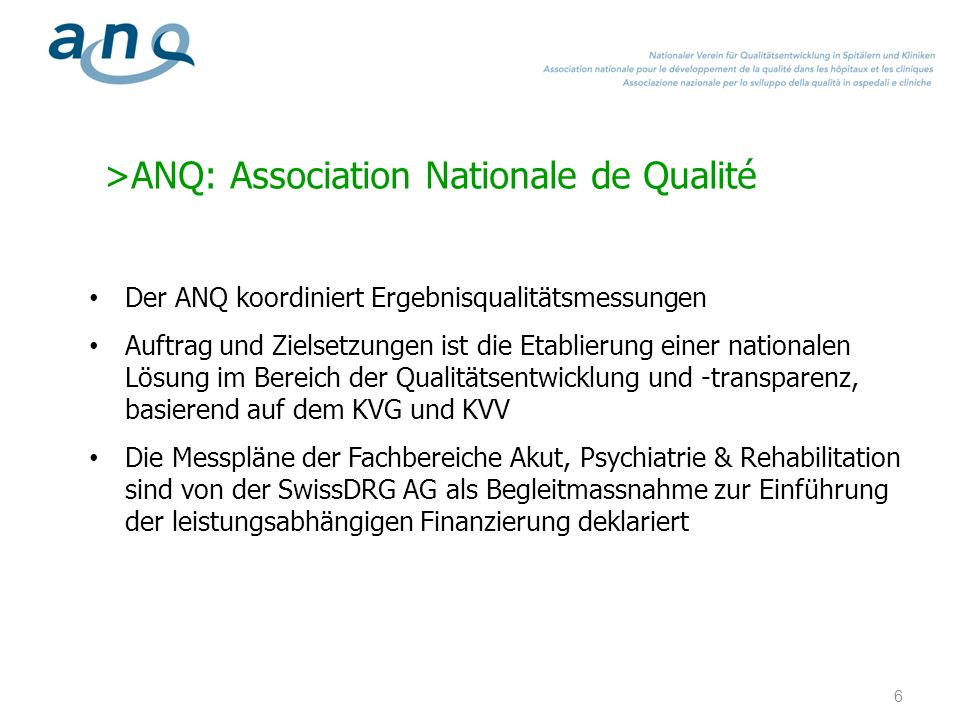 >ANQ: Association Nationale de Qualité