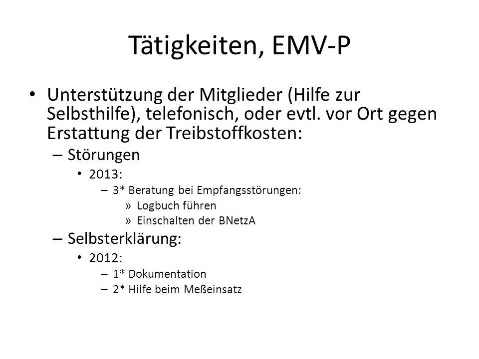 Tätigkeiten, EMV-P Unterstützung der Mitglieder (Hilfe zur Selbsthilfe), telefonisch, oder evtl. vor Ort gegen Erstattung der Treibstoffkosten: