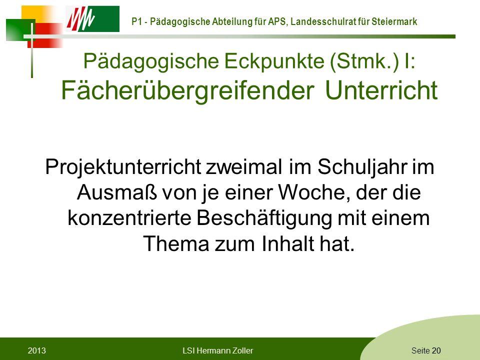 Pädagogische Eckpunkte (Stmk.) I: Fächerübergreifender Unterricht