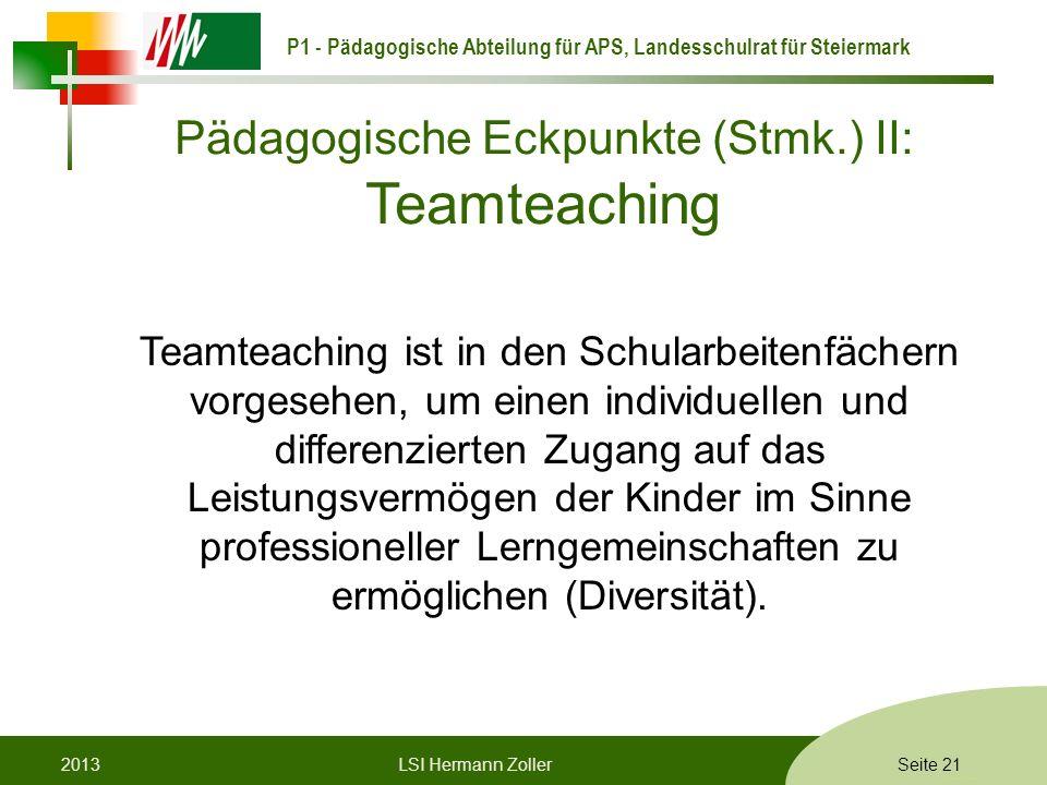 Pädagogische Eckpunkte (Stmk.) II: Teamteaching