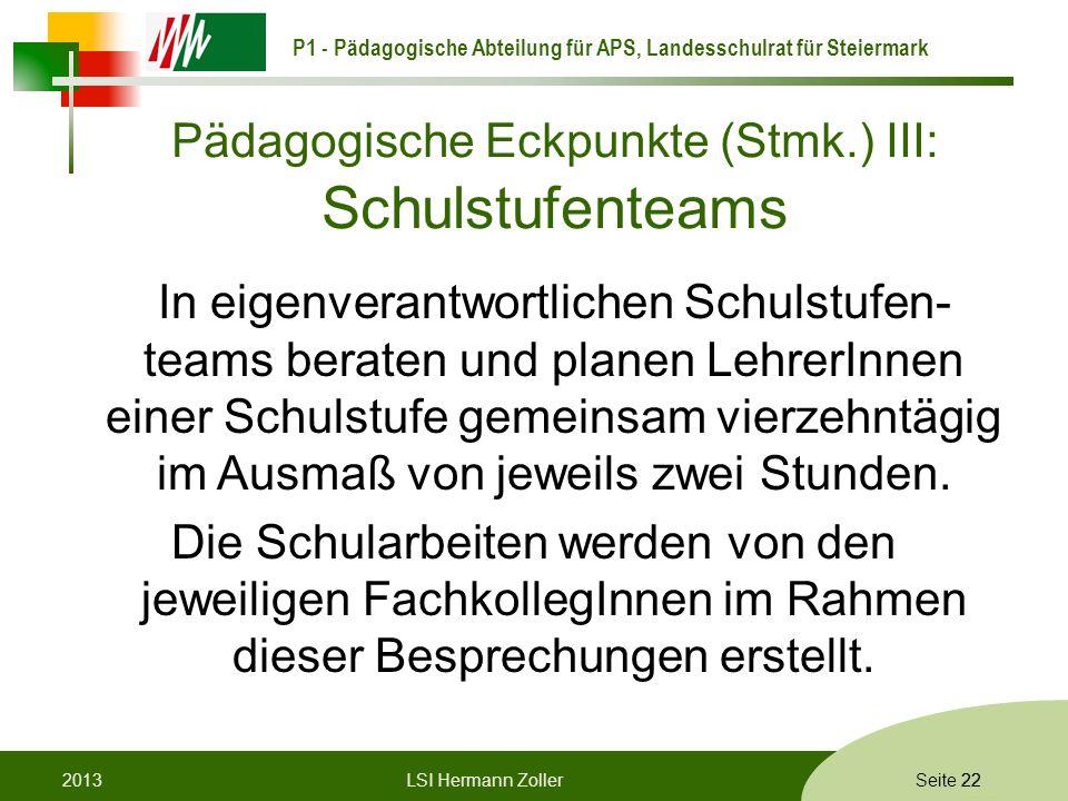 Pädagogische Eckpunkte (Stmk.) III: Schulstufenteams
