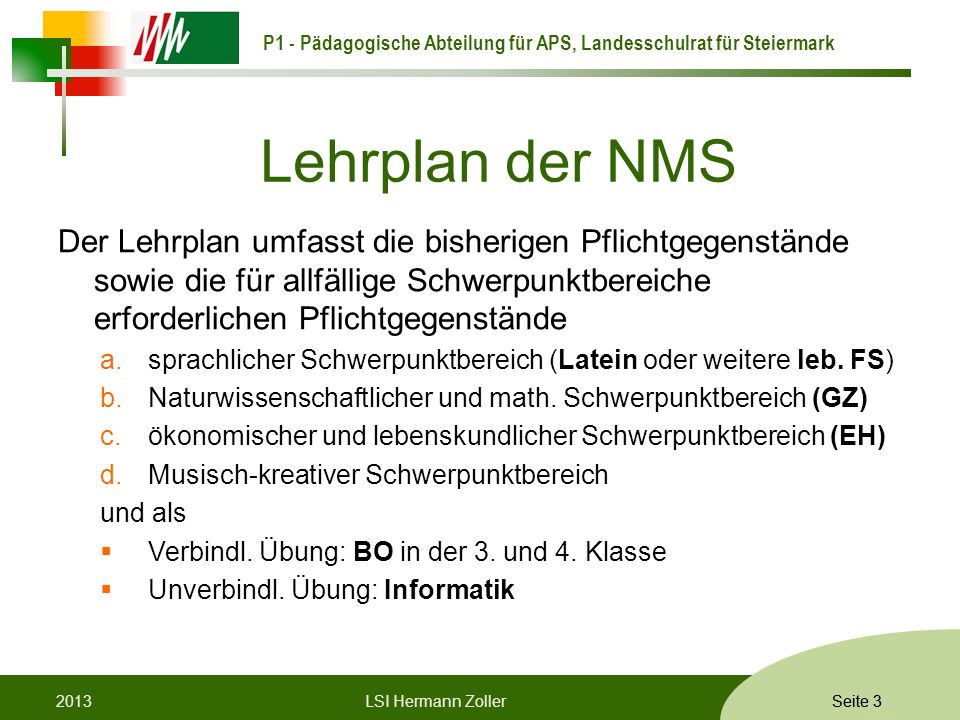 Lehrplan der NMS