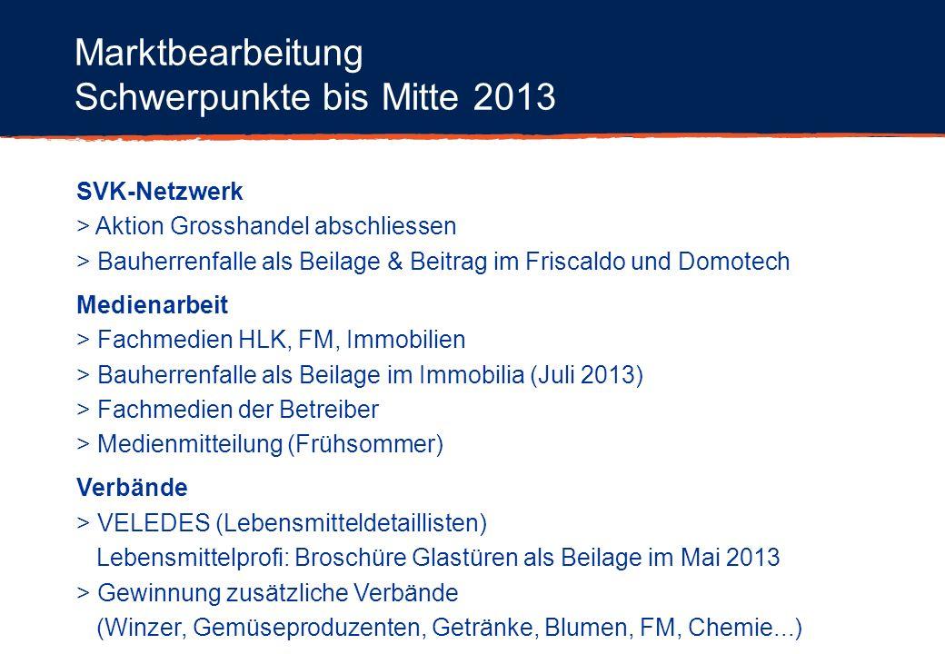 Schwerpunkte bis Mitte 2013