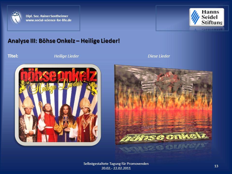 Analyse III: Böhse Onkelz – Heilige Lieder!