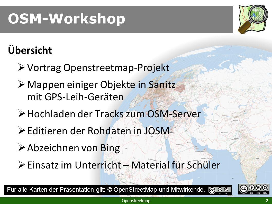 OSM-Workshop Übersicht Vortrag Openstreetmap-Projekt