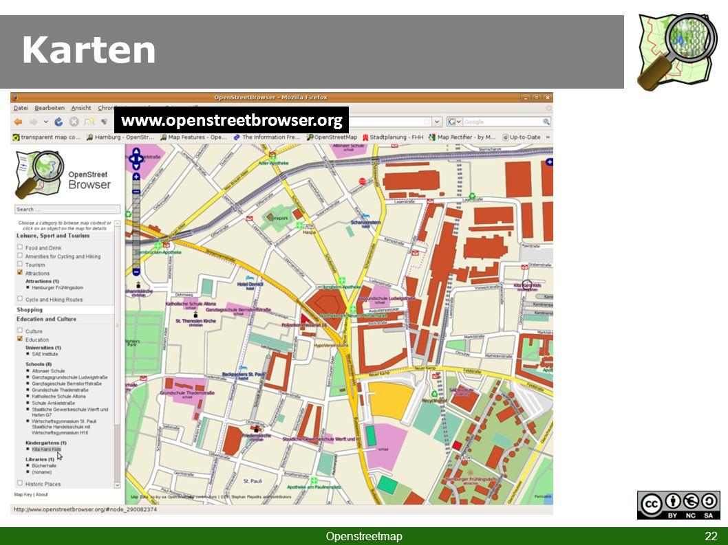 Karten www.openstreetbrowser.org Klick HH Hbf III Openstreetmap