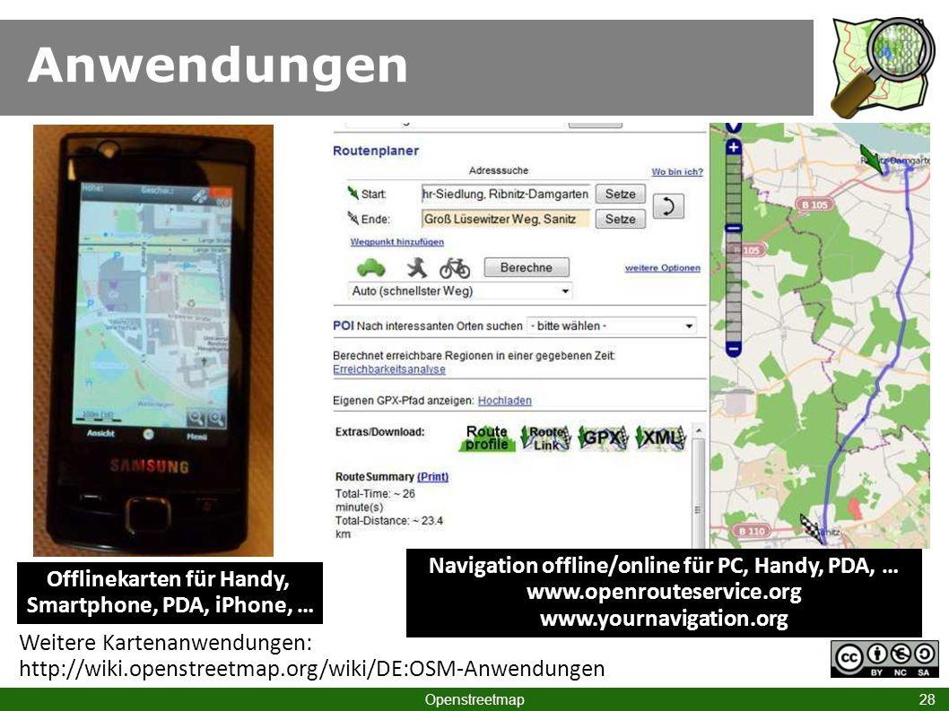 Offlinekarten für Handy, Smartphone, PDA, iPhone, …