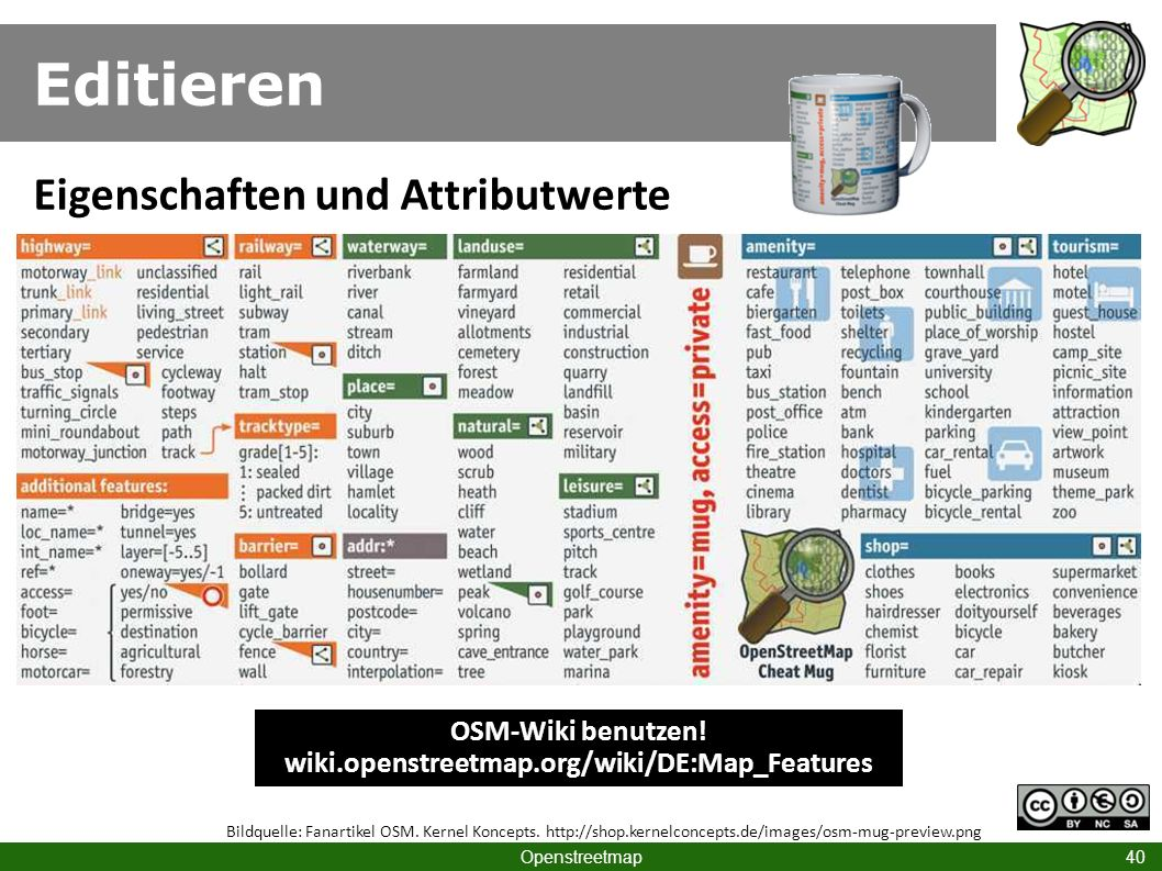 OSM-Wiki benutzen! wiki.openstreetmap.org/wiki/DE:Map_Features