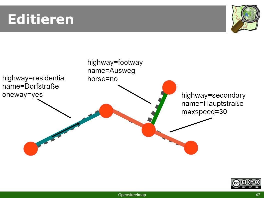 Editieren highway=footway name=Ausweg horse=no highway=residential