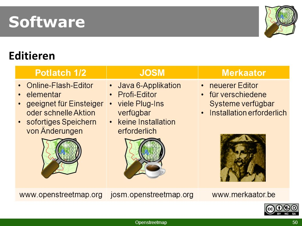 Software Editieren Potlatch 1/2 JOSM Merkaator Online-Flash-Editor