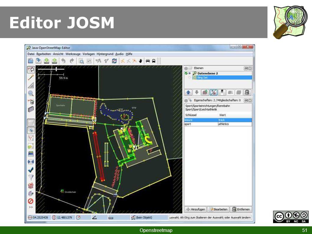 Editor JOSM Klick JOSM Openstreetmap