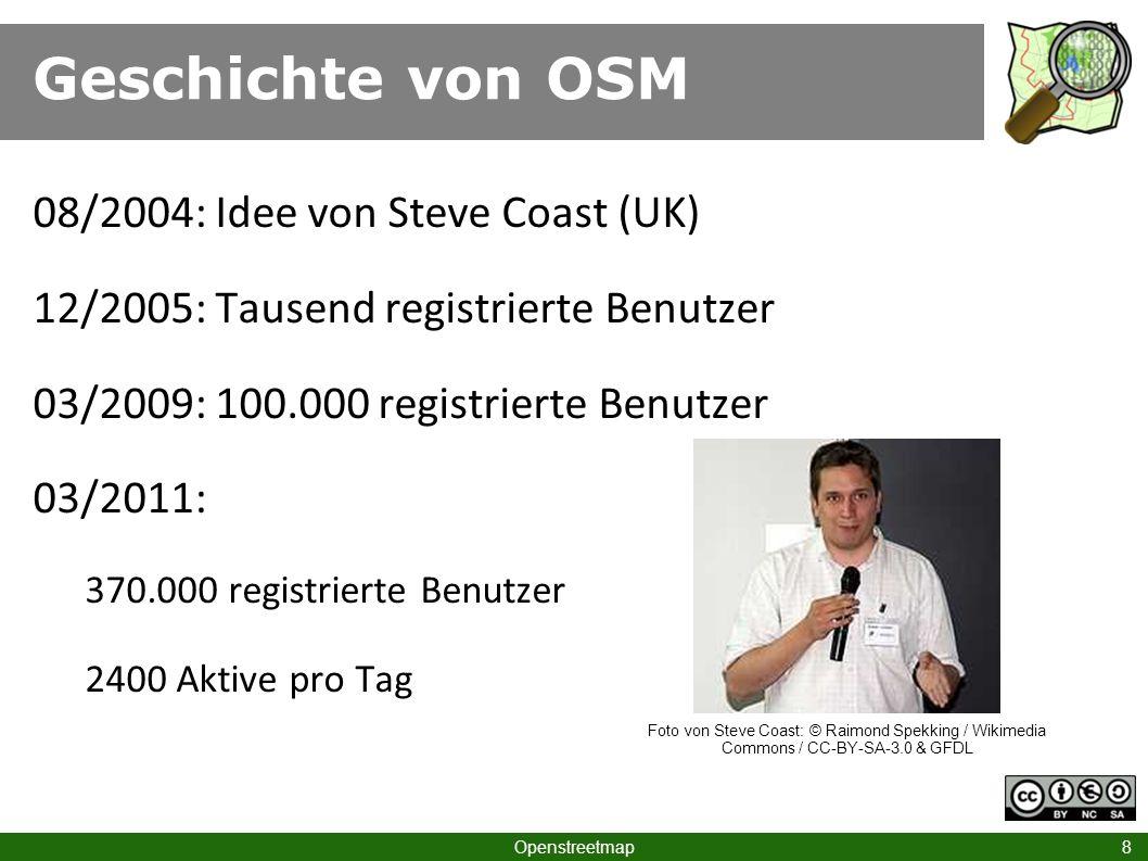 Geschichte von OSM 08/2004: Idee von Steve Coast (UK)